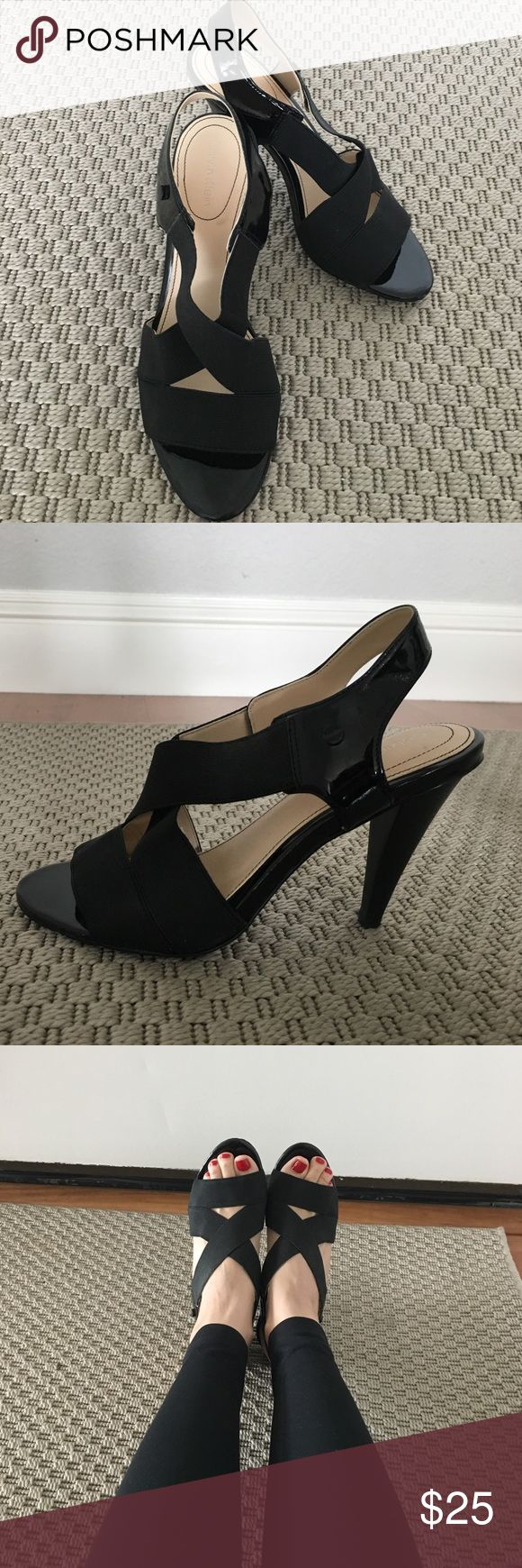 Calvin Klein April Elastic Strap Patent Heels 3.5 inches high, lightly worn (maybe 1-2x). Great for dresses, skirts, or leggings/skinnies. Very comfy, as the heel has a bit of cushion support. A great closet staple as they go with so many things. Also easy and light enough to pack for travel. Calvin Klein Shoes Heels