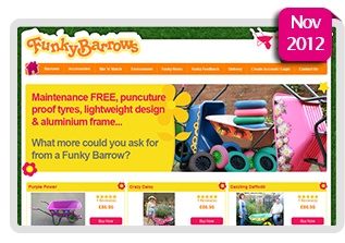 Funky Barrows    #Funky Barrows required a new, fun & 'funky' bespoke #ecommerce #website using company brand to sell #wheelbarrows, parts and #accessories online.