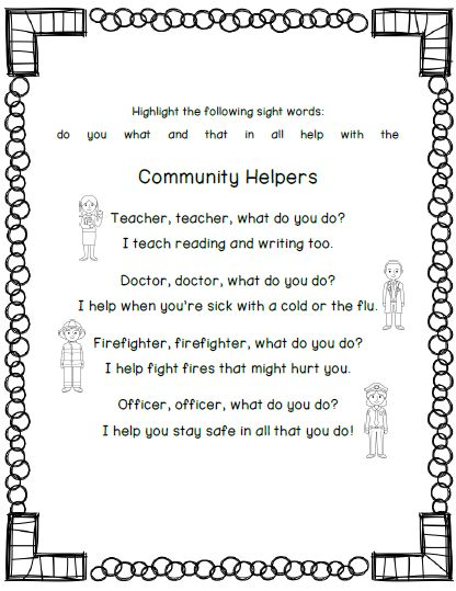 Mrs. Black's Bees: Community Helpers Stations & Printables