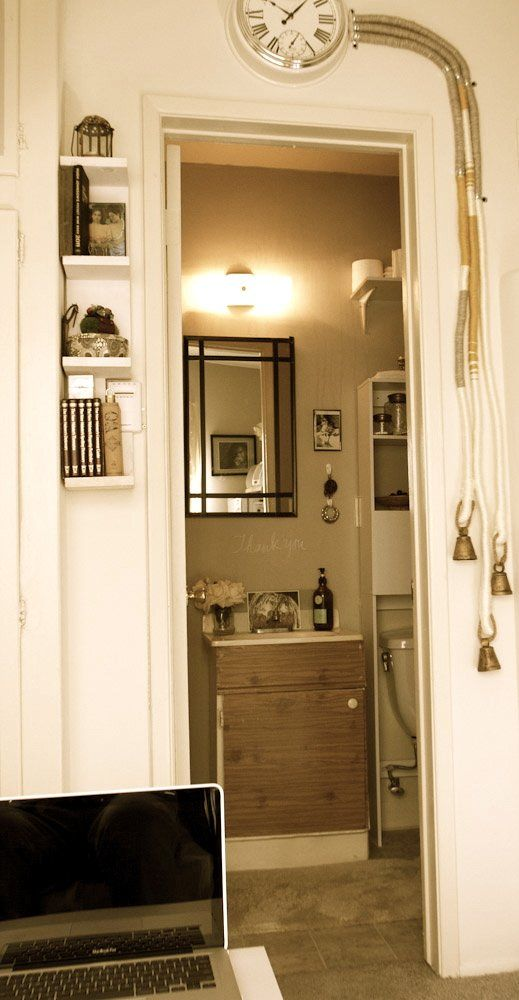 via Apartment Therapy: Small Bathroom, Small Apartment, Small Shelves, Studio Loft Apartment, Wall Shelves, Tiny Space, Small Spaces