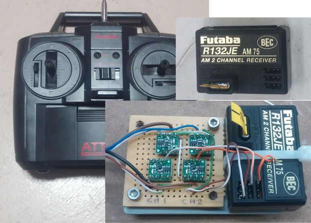 With this setup you can control your robot with a real AM wireless RC controller using the Raspberry Pi.