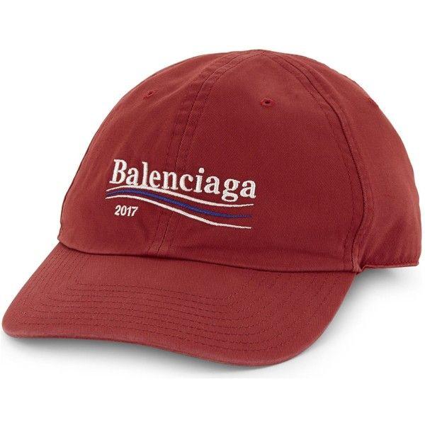 b35519bfc BALENCIAGA Campaign logo cotton baseball cap ❤ liked on Polyvore ...