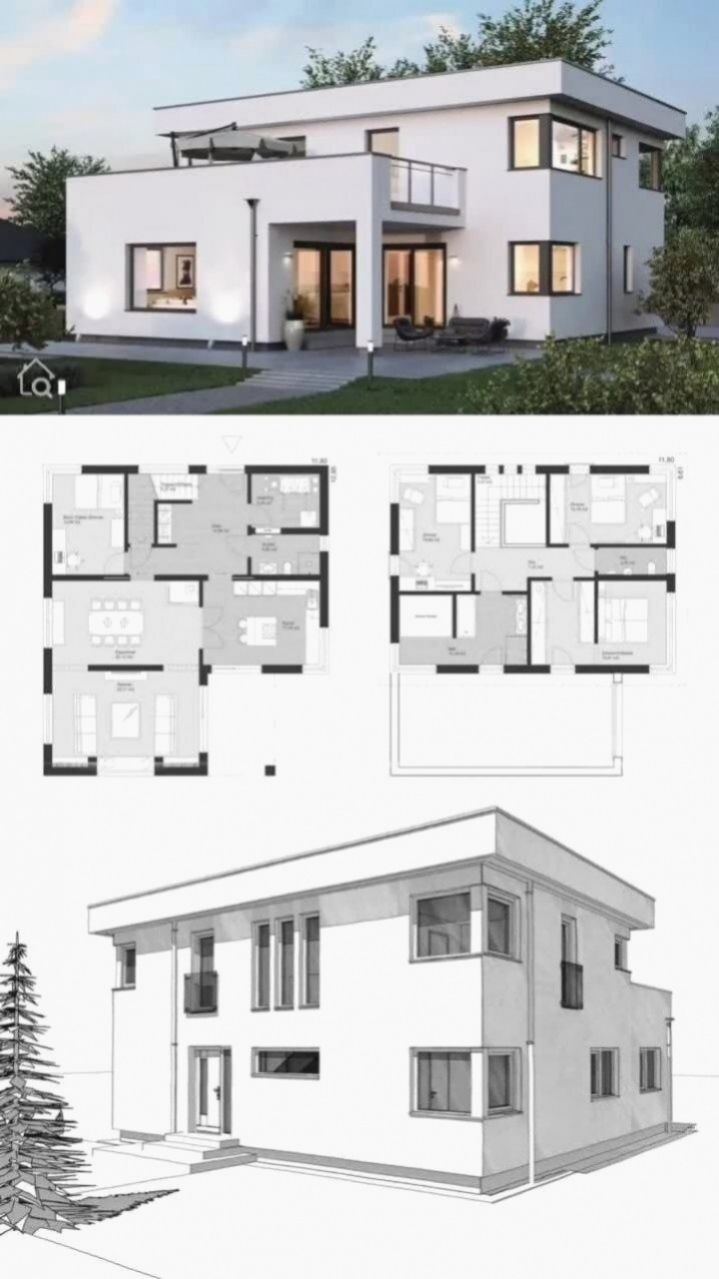 Modern House Design In The Bauhaus Style Minimalist With Flat Roof Build Family House Floor Plan Prefabricated House City Villa Modern In L Shape Rooms In 2020