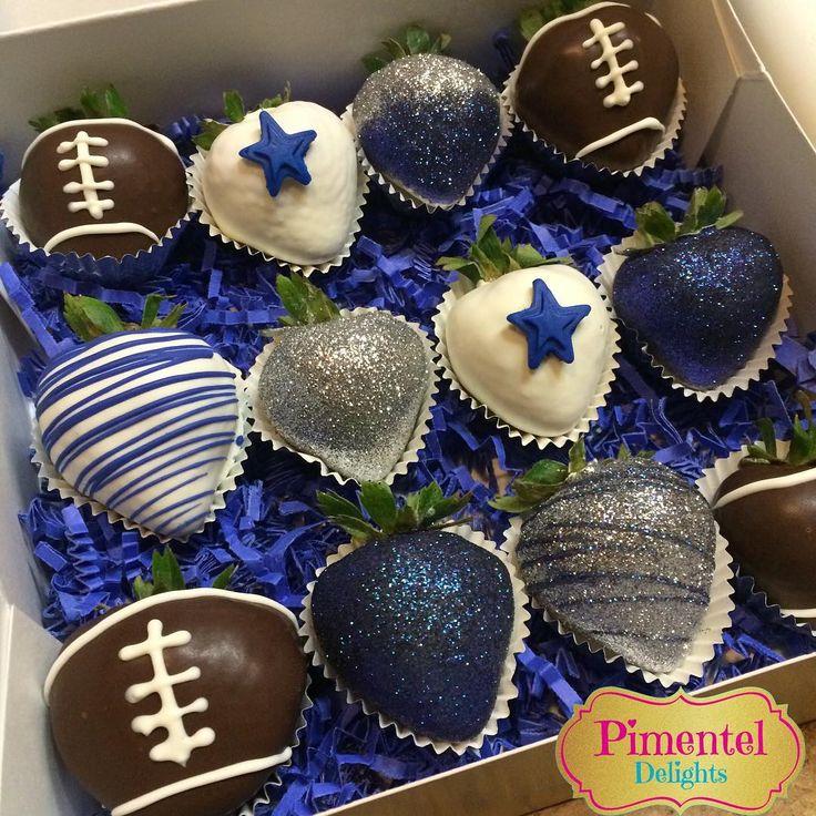 """""""Dallas Cowboys strawberries. #Yummy #Football #DallasCowboys #Blue #DiscoDust #SoGlam #BirthdayGift #NewChallenge $25"""""""