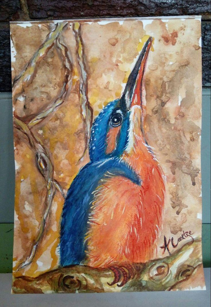 Kingfisher watercolor by Amanda Coertze Jun '17