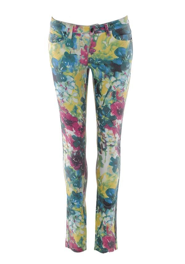 Pieces Floral Print Skinny Jean, Multi