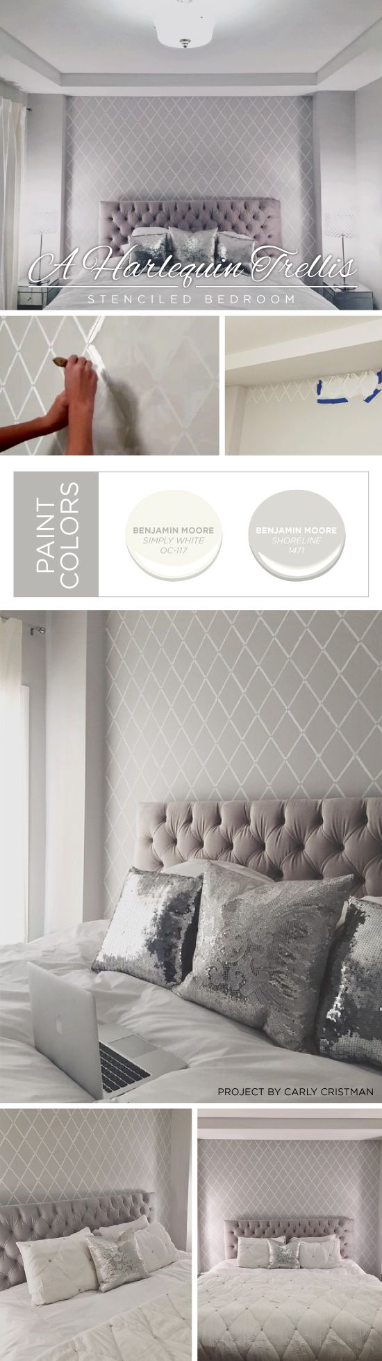 Cutting Edge Stencils shares a  DIY stenciled bedroom accent wall using the Harlequin Trellis Allover Stencil. http://www.cuttingedgestencils.com/trellis-stencil-harlequin.html