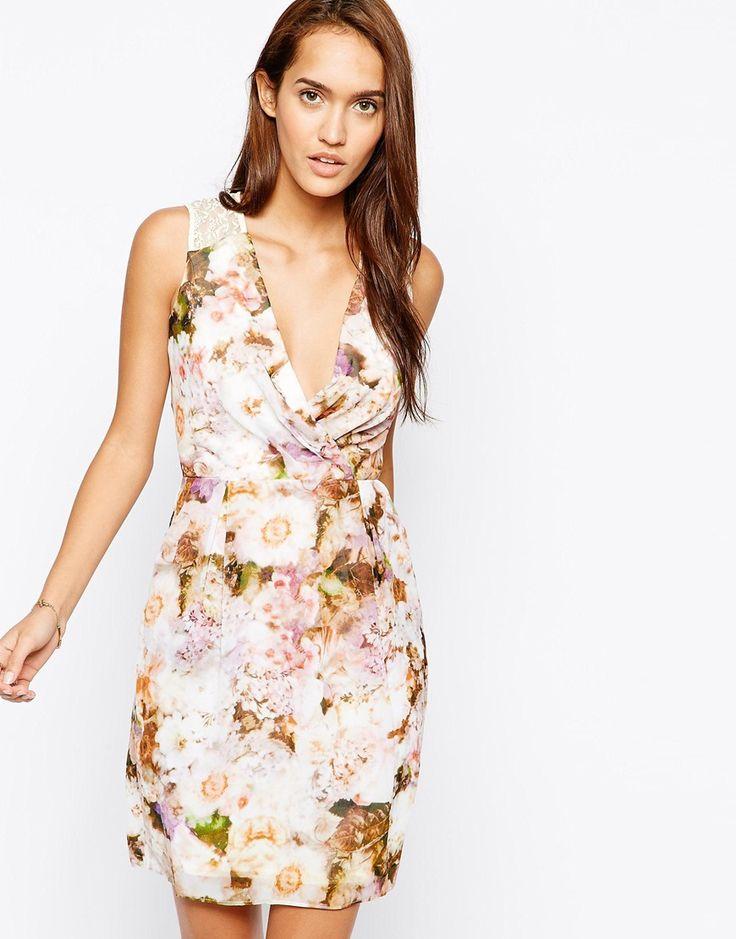 Little Mistress Floral Print Dress with Lace Back