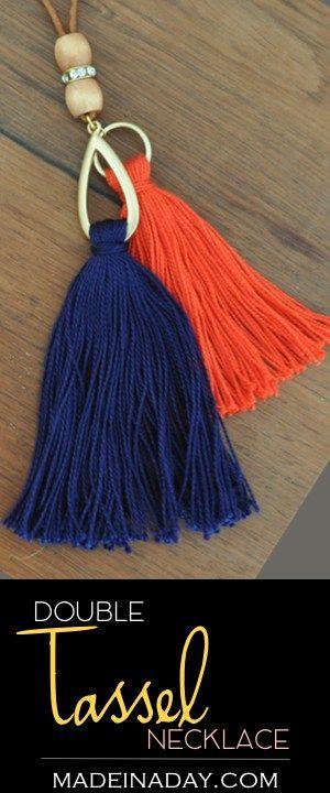 DIY Navy Orange Two Tassel Necklace madeinaday.com