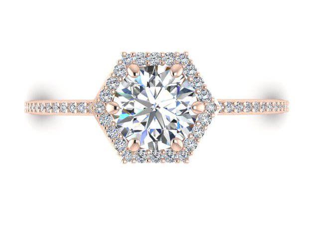 Elegant Hexagon shape ring Custom made diamond ring White Sapphire Engagement ring by BridalRings on