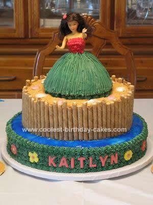 Girl Luau Birthday Cake: This Homemade Hula Girl Luau Birthday Cake ...