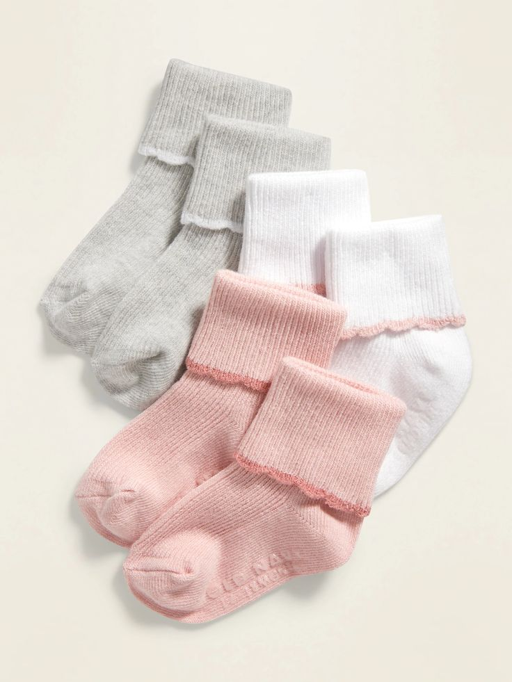 Fold-Over Crew Socks 3-Pack for Baby   Old Navy in 2020 ...