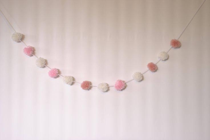 Mini pompom garland, pink and white yarn pom pom garland , pom pom banner, nursery decor, boho decor, baby bedroom decor, baby girl gift by pamelasunshinedesign on Etsy
