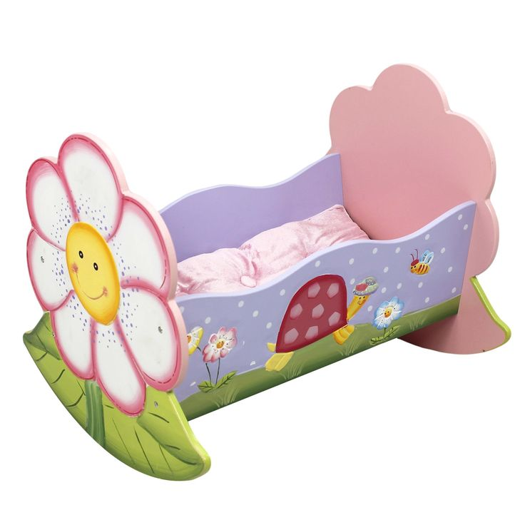Fantasy Fields - Magic Garden Thematic Rocking Bed for 18 inch Doll Cradle Imagination Inspiring Hand Crafted & Hand Painted Details Non-Toxic, Lead Free Water-based Paint. Safe, Sturdy Wood with Lead Free Paints - CPSIA Compliant. Carefully Packaged Unique Hand Painted Hand Carved Design by Skilled Craftsman. Suitable for Kids Bedroom and Playroom to develop Imagination and Creativity with Whimsical Pieces. Easy Assembly; Best Gift for Kids Birthday; Christmas Gift; Baby Shower & many…