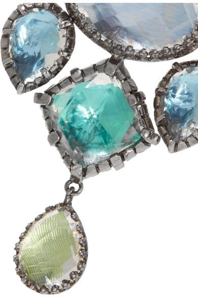 Larkspur & Hawk - Sadie Girandole Rhodium-dipped Quartz Earrings - Silver