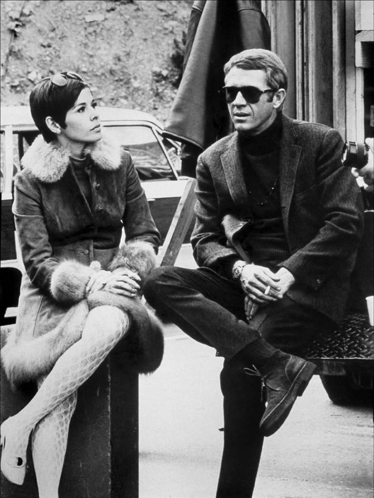 steve mcqueen with his wife back set of bullitt 1968. Black Bedroom Furniture Sets. Home Design Ideas
