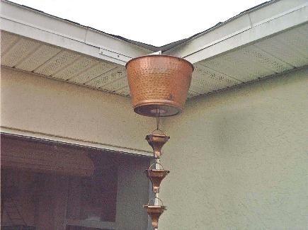 How used rain chain with mounted bucket - Rain Chains Direct