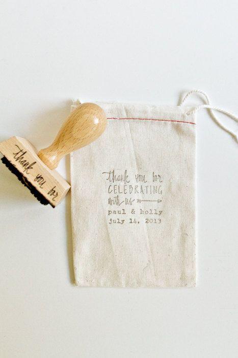 Personnalisé mariage Calligrapy timbre - 2inch Merci pour célébrer avec nous personnalisé tampon en caoutchouc pour les faveurs de mariage D...