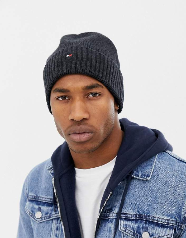 Tommy Hilfiger pima cotton cashmere beanie in black  cce3b132d66