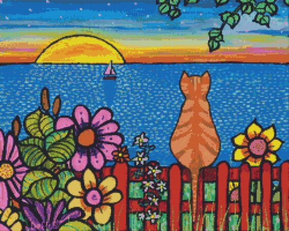 Tabby Cat Cross Stitch Kits by Shelagh Duffett Tabby- cat cross stitch Alice in Paris