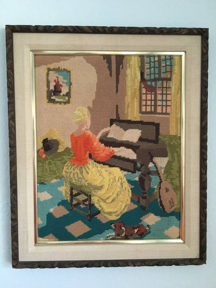 Stunning 1950s framed needlepoint of girl at piano with dog and mandolin! A vintage tropical Old Florida find!