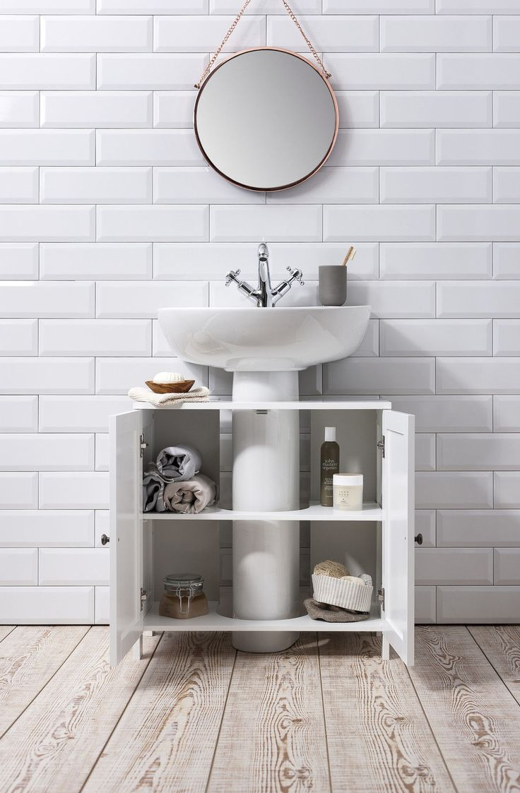 Details about bathroom sink cabinet undersink in white - Bathroom vanity under sink organizer ...