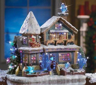 beautiful fiber optic lighted christmas holiday santa village house figurine new ebay - Lighted Christmas Houses