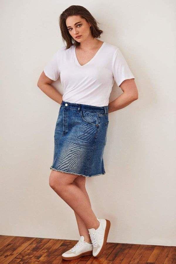Warp + Weft Aus Skirt in Blue Size 14
