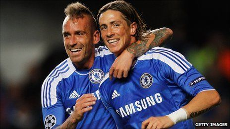October 2011: Raul Meireles and Fernando Torres celebrate a goal in the 5-0 win over Genk