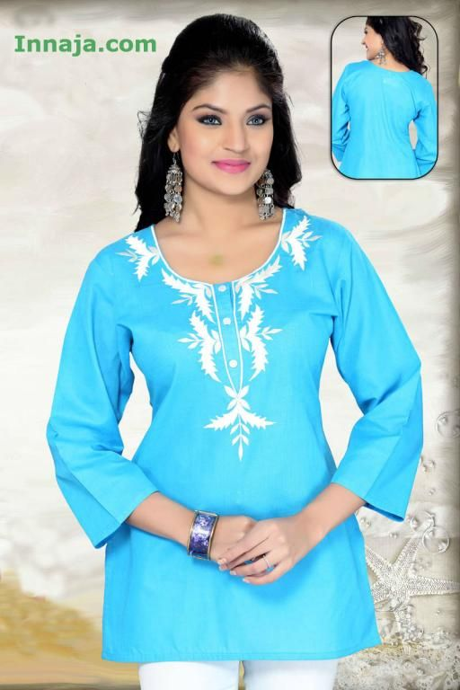 Damska tunika niebieska bawełniana indyjska r. 46