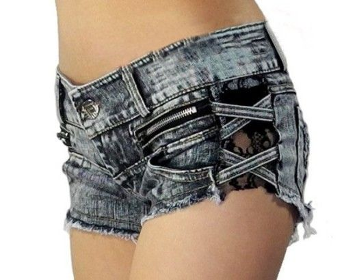 lulula-fashion shopping mall — [gryxh3600549]Retro sexy lace stitching zipper torn burrs denim shorts