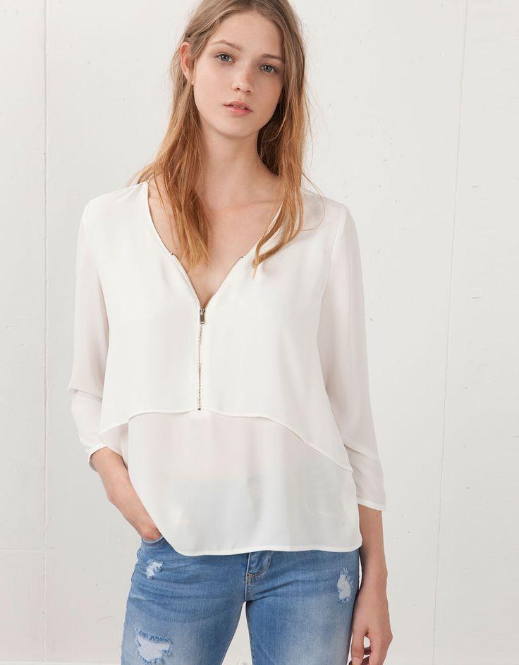 Blusa Bershka doble capa con cremallera - Camisas & blusas - Bershka Dominican Republic