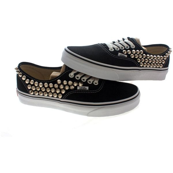 Studded Vans, Silver cone studs with Black vans / One side Studded by CUSTOMDUO on ETSY ($105) found on Polyvore