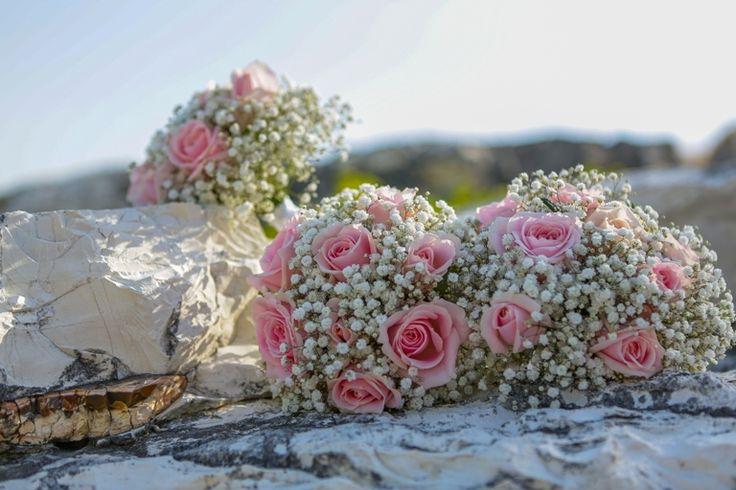 Bridesmaid's posies - Romantic - light pink and white flowers #weddingflowerideas #beachwedding #mythosweddings #kefalonia