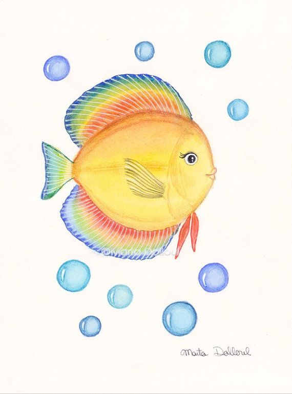 17 best images about under the sea watercolor art on for Yellow rainbow fish