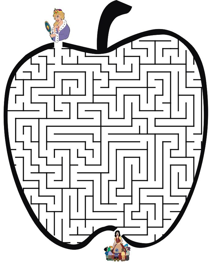 Apple shaped maze from PrintActivities.com