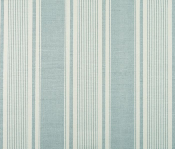 "French Ticking in Duck Egg by Vanessa Arbuthnott -- £45 per metre -- cream and aqua striped fabric -- coordinates with ""Feather and Egg"" and ""Hen Run"" fabrics"