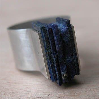 """Sterling zilveren ring met vierkante lapis platen.  Lapis pleinen maatregel ongeveer 1/2 x 5/8 x 1/4 """". Maat 6 3/4."""