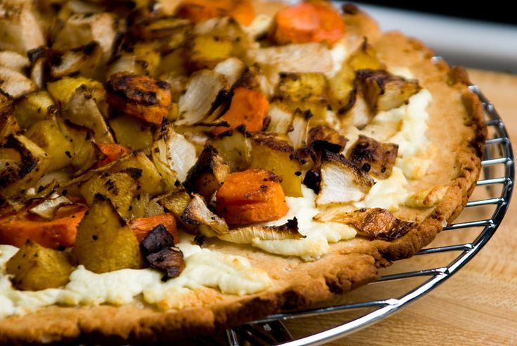 Roasted Winter Vegetable and Goat Cheese Pizza