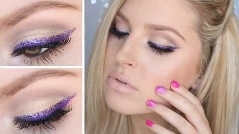 """""""Purplicious"""", make-up look. Paarse eyeliner met daarboven een paarse glitter eyeliner. In de arcadeboog is een subtiele bruine tint aangebracht en heel goed geblend."""