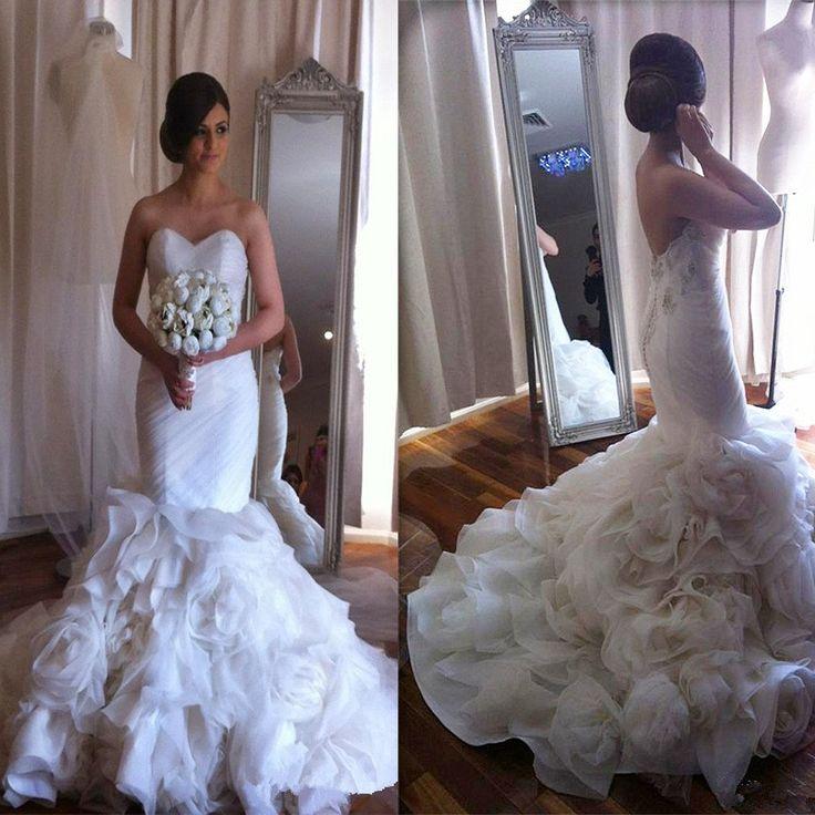 2017 Elegant Strapless Mermaid Charming Ruffles Floral Unique Wedding Bridal Gown Dresses. WD0118