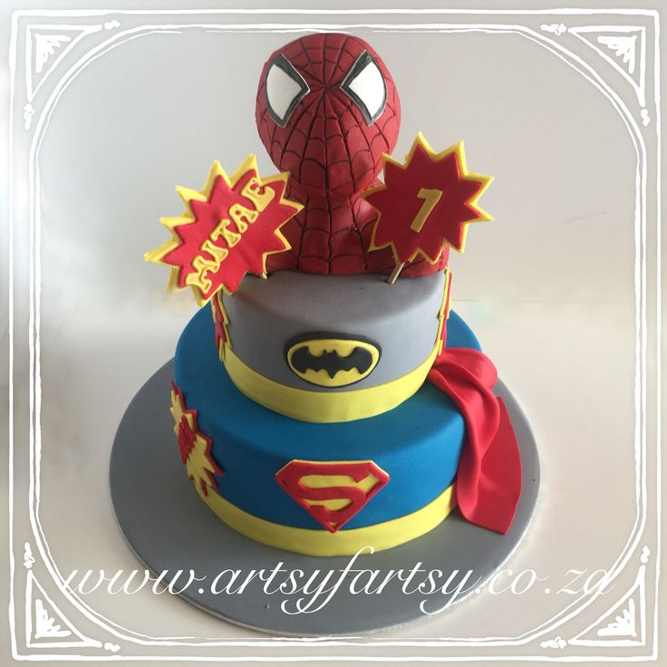 Spider-Man Batman Superman Cake #superherocake