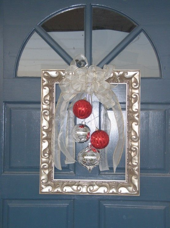 81 best square wreaths images on pinterest christmas for Decorative door frame ideas