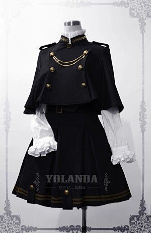 Yolanda Uniform Style Velvet Lolita Outfit with Cape