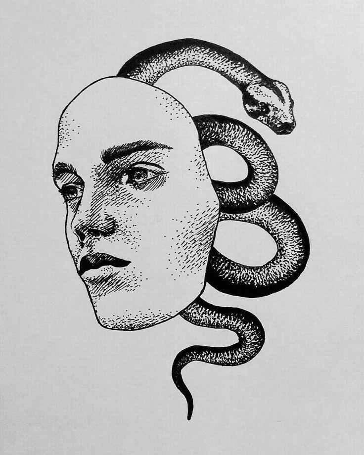 p o i s o n  #drawing #illustration #sketch #snake #androgynous #nature #animal #poison #iblackwork #inspire #blackwork