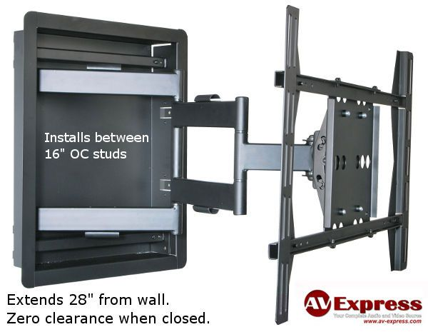 recessed in wall tv mount for between studs permits sleek and flush appearance