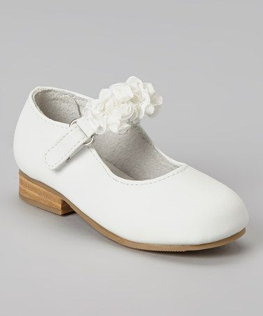 White Ruffle Flower Leather Mary Jane by L'Amour Shoes #zulilyfinds