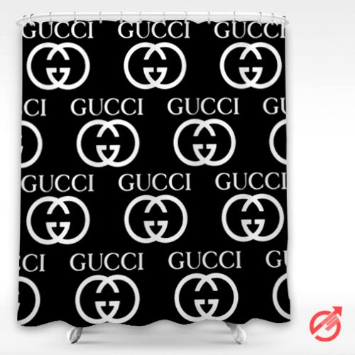 Gucci Black White Logo Pattern Shower Curtain
