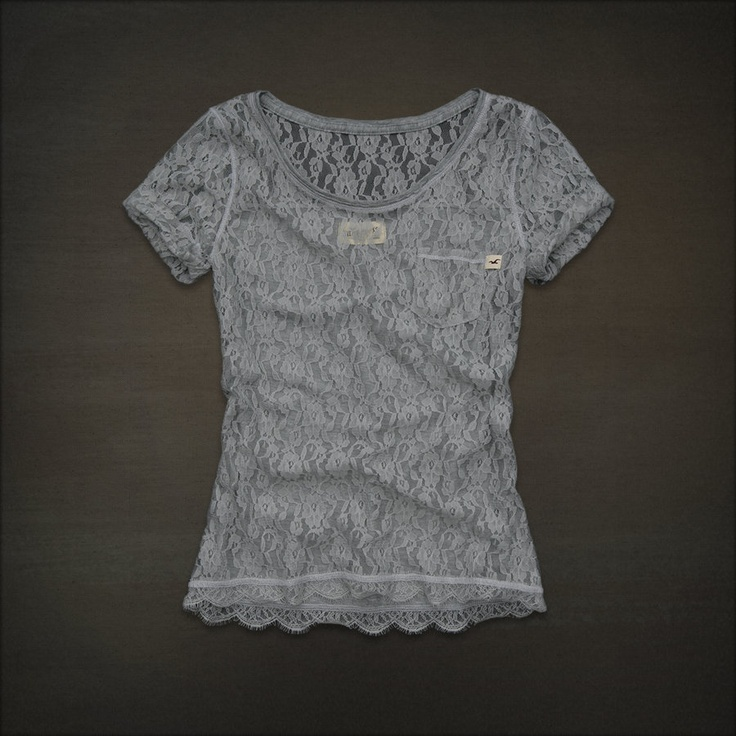 lacy hollister shirt + cute cami + chic jean shorts = sweet outfit