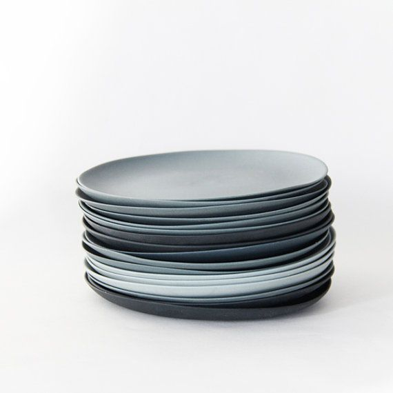 Plates porcelain gray set by GoldenBiscotti on Etsy. Should be easy to mix and match ikea plates for cheap!